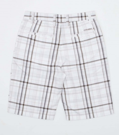 Surf The O'Neill Kids Triumph Shorts are made of 65% polyester and 35% viscose; plaid with heavy enzyme/silicone wash. Standard fit; Contrast fabric inner waistband; welt back pockets with logo embroideries. - $26.99