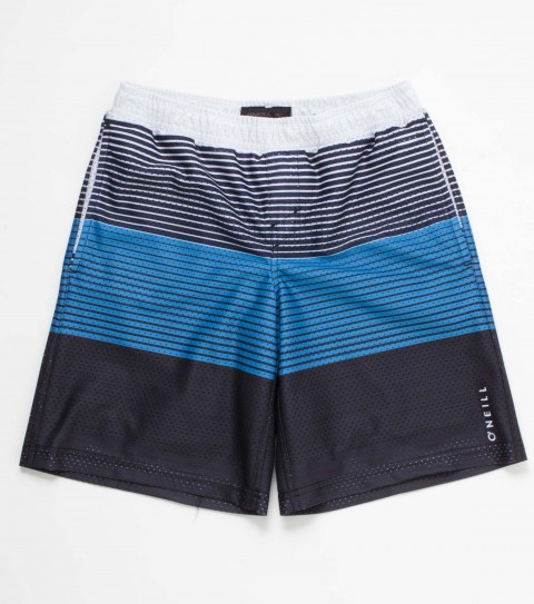 Surf The O'Neill kids Exposure shorts are made of 100% polyester sublimated stripe mesh with an elastic waist; on seam hand pockets; logo embroideries and labels. - $27.99