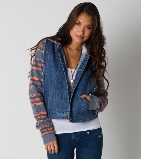 Surf The O'Neill Johnny jacket is made of 98% cotton and 2% elastane 12oz denim; heathered printed fleece pieced at sides sleeves and hood; heavy stone wash with destruction and raw edge detail; metal shank buttons; and inner back neck screen. - $59.99