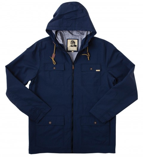 Surf Jack O'Neill Explorer Jacket: 100% quick dry nylon hooded zip-up jacket. Standard fit; contrast interior hood liner; front chest and hand patch pockets; leather and metal trims; Jack O'Neill labels and embroideries. - $53.99