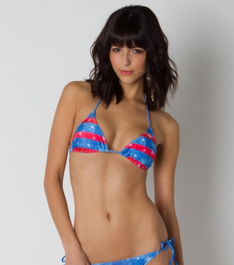 Fitness The O'Neill Americana Triangle Top is one of O'Neill's best selling swimsuits!  Watercolor stripe printed slide triangle top with contrast ties and removable bra cups. - $14.99