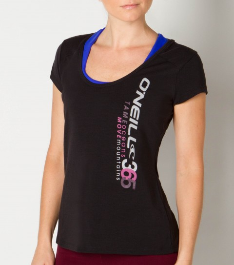 Surf O'Neill 365 Momentum Tech Tee.  Wicking technology pulls moisture from your skin; keeping you more comfortable and dry.  Technical wicking fabric mixed with a fashion forward style; lightweight layering piece; high-low hemline; back neckline cutout for ventilation. - $18.99