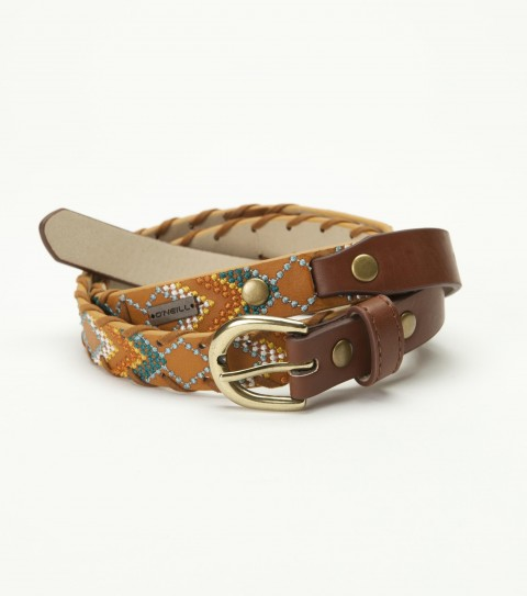 Surf O'Neill Santa Fe Belt.  Faux leather belt with faux leather trim; embroidery detail; and faux leather hipstitch detail. - $16.99