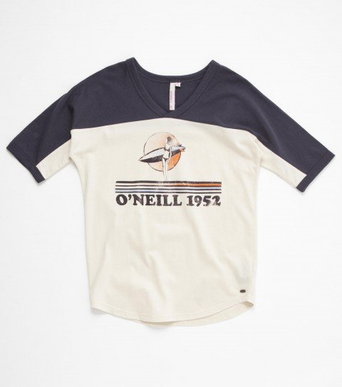Surf The O'Neill Girls Daydreamer tee is 100% cotton jersey; has contrast inset along top opening; dolman sleeve styling; saddle cut; front chest graphic and rib knit trim. - $20.99