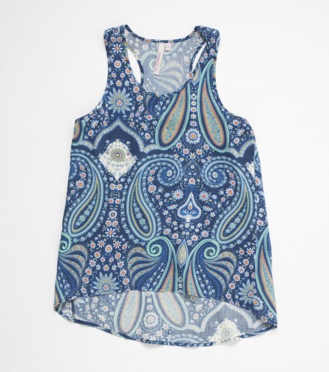 Surf This O'Neill Molly Top rocks the paisley print with 100% viscose; printed tank top with racerback; high-low hem and metal logo badge - $24.99