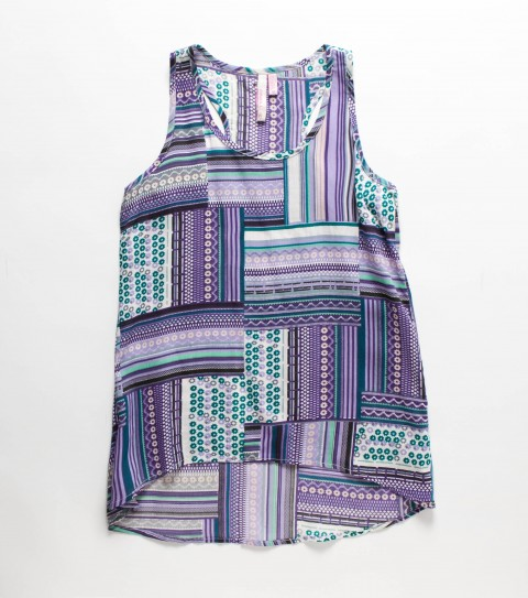 Surf O'Neill Girls Maggie Top. 100% viscose;  printed tank top with racerback; high-low hem and metal logo badge - $26.99