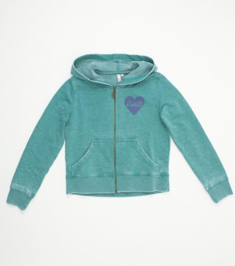 Surf The O'Neill Girls Jasmin Hoodie is a 100% cotton all over burnout zip up; front zip closure; graphic hit at front left chest and center back; metal logo badge; rib knit trim; front kangaroo pocket. - $24.99