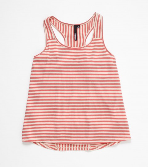 Surf This O'Neill Caden Top is bright and fun with its striped racerback style. 100% cotton yarn-dye jersey; front shoudler strap insets; inset down center back; hi/lo hem; racerback; metal logo badge - $16.99