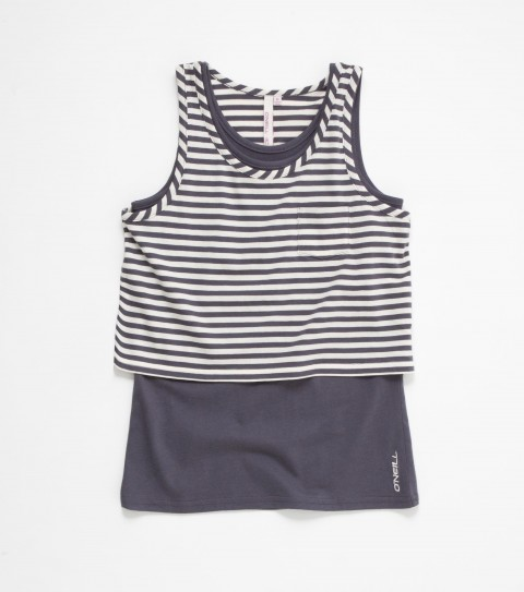Surf O'Neill Nina Top. Cute two piece striped top! 100% cotton y/d stripe with solid under layer; double layer styling with logo embroidery - $38.00