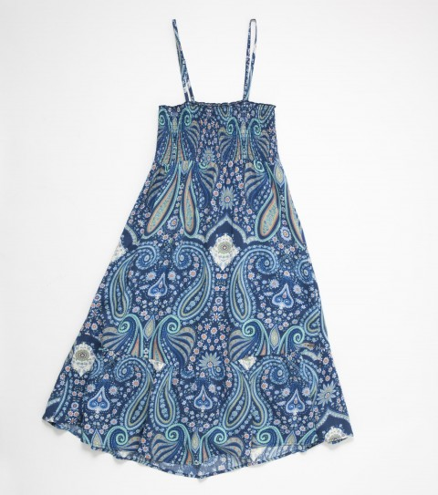 Entertainment The O'Neill Girls Rileigh Dress is 100% viscose printed; slight dip at cf bottom opening; fully smocked bust; spagetti shoulder straps with metal strap adjusters; large ruffle along bottom opening; metal logo badge. - $22.99