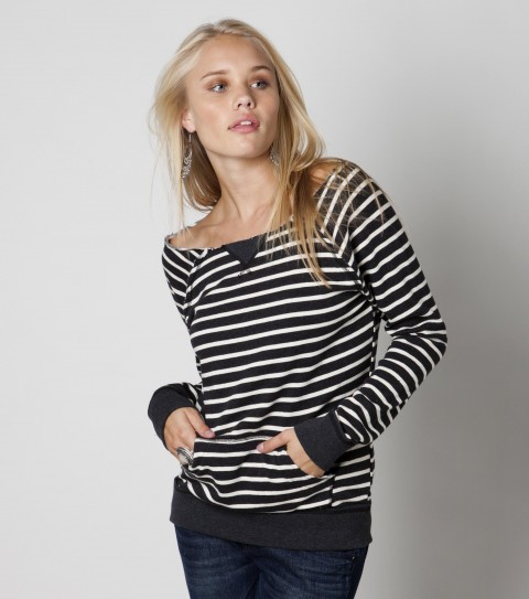 Surf The O'Neill Firework sweater is made of 60% cotton and  40% polyester yarn dye french terry stripe with raw edge detailing; front kangaroo pocket; rib knit trim; and metal logo badge. - $39.50