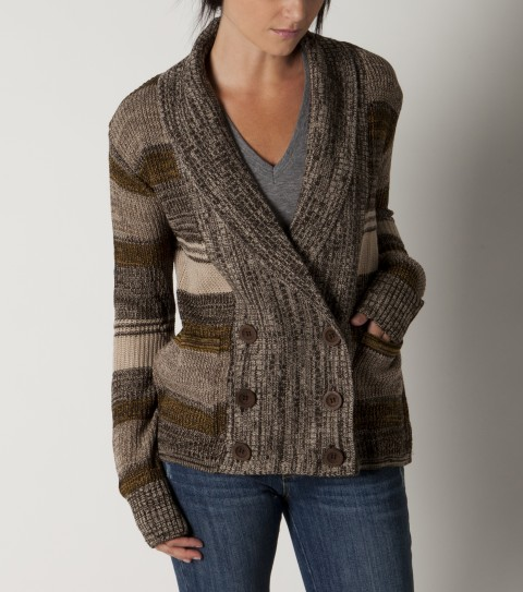 Surf O'Neill Chalet Sweater.  100% Acrylic marl sweater knit.  Multi color yarn dye sweater knit; grampa cardigan styling; front button closure; metal logo badge. - $59.50