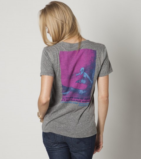 Surf The O'Neill Shred It tee in gray is made of 50% polyester; 37% cotton; and 13% rayon tri-blend jersey.  In white it is made of 100% cotton jersey; favorite v-neck. - $15.99