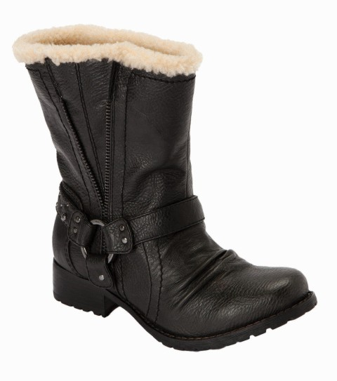 Surf O'Neill Horizon Boots.  Faux leather boots with sherpa lining; metal hardware trim; low heel; and metal logo rivet. - $79.50