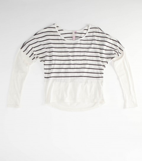 Surf The Girls O'Neill Bon Bon Shirt is made from a 60% cotton/ 40% poly striped blend; stripe at top; dolman sleeve with dropped hem; baseball hem. - $23.99
