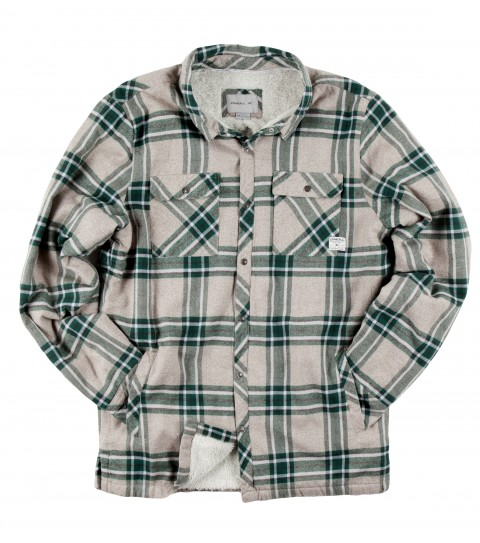 Surf O'Neill Redstone Flannel.  100% Cotton.  Plaid flannel with silicone wash. Standard fit; sherpa lined; side hand pockets; chest pockets; with logo embroideries and labels. - $44.99