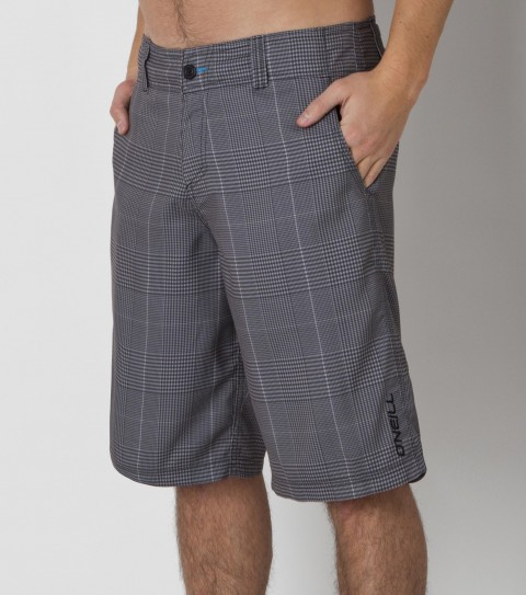 "Surf O'Neill Wall Street Rigid Hybrid Shorts.  Ultrasuede.  22"" Outseam boardshort features allover print; button fly closure; internal drawcord; belt loops; onseam hand pockets; back zipper pocket; and embroidered logos. - $35.99"