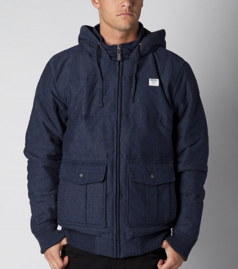 Surf O'Neill quilted hoodie fleece jacket filled with taffeta lining. Standard fit; hooded zip-up; double entry front patch pockets; leather accents; Superfleece and logo labels. - $50.99