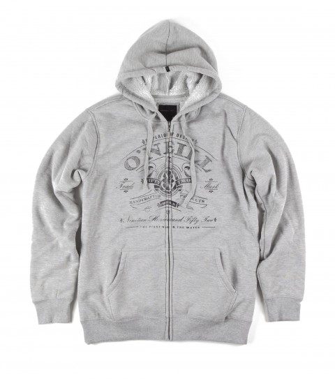 Surf O'Neill 60% cotton/40% poly hooded fleece with sherpa lining. Standard fit; hooded zip-up; kangaroo pockets; chest screenprint; logo labels. - $41.99