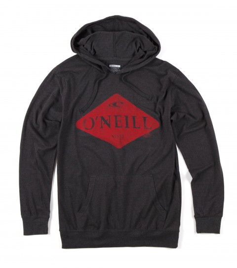 Surf O'Neill Diamond Hooded Shirt.  50% Cotton / 50% Poly.  30 Singles premium fit heather longsleeve hoodie with attached drawcords and kangaroo pocket. Softhand screenprint. - $31.99