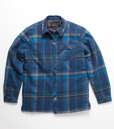 Surf O'Neill Boys Malone Flannel.  100% Cotton.  Plaid flannel with silicone wash. Standard fit; taffeta lined; filled and quilted; double needle topstitch; chest pockets; with logo embroideries and labels. - $64.00