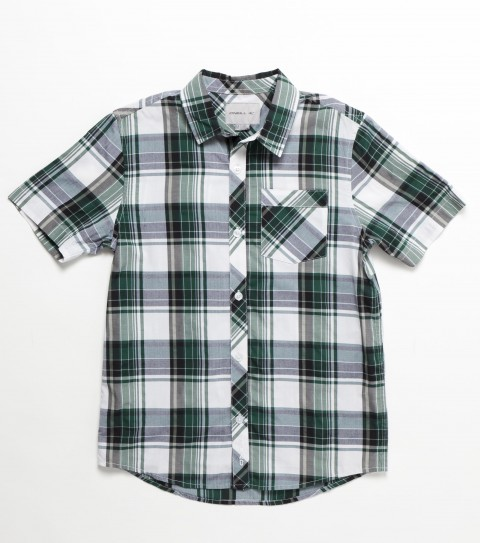 Surf O'Neill Boys Ortega Shirt. 55% Cotton / 45% Polyester. Plaid shirt with silicone wash. Standard fit; chest pocket; with logo embroideries and labels. - $38.00