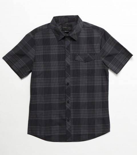 Surf O'Neill Boys Brewster Shirt. 55% Polyester / 45% Viscose. Plaid with silicone wash. Modern fit; logo embroidies and labels. - $42.00
