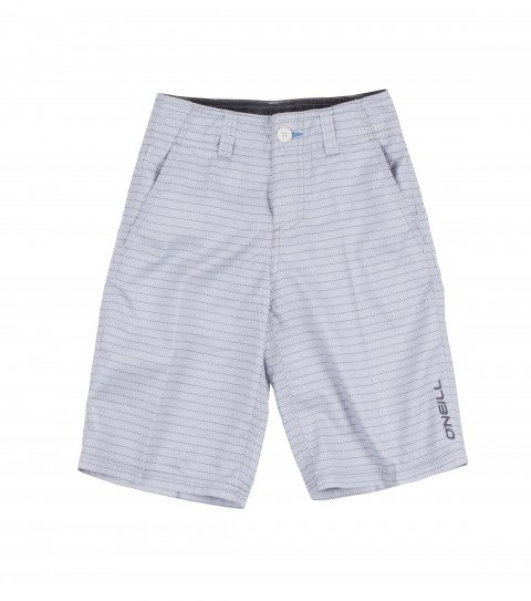 Surf O'Neill Boys Wall Street Rigid Hybrid Shorts. Ultrasuede.  Allover print; button fly closure; internal drawcord; belt loops; onseam hand pockets; back zipper pocket; and embroidered logos. - $34.99