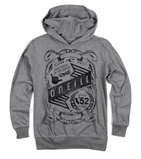 Surf O'Neill Boys Syndicate Hoodie.  50% Cotton / 50% Poly.  30 Singles premium fit heather longsleeve hoodie with attached drawcords and kangaroo pocket with softhandscreenprint. - $28.99