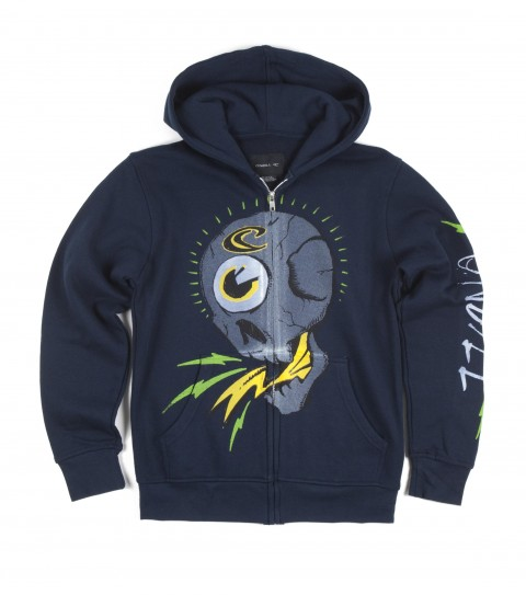 Surf O'Neill Skullz Boys Hoodie.  80% Cotton / 20% Polyester.  Standard fit; hooded zip; kangaroo pocket and softhand glow in the dark screenprint. - $44.50