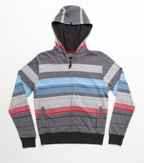 Surf O'Neill KIds Haven Hoodie Shirt.  100% Cotton.  Jersey engineered yarn dye heather stripe hooded zip-up.  Standard fit; side hand pockets; logo embroidery and labels. - $42.00