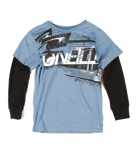 "Surf O'Neill Kids Trench 2Fer Tee. 60% Cotton / 40% Polyester. Jersey tee with contrast jersey ""2fer"" sleeves; softhand logo screenprint. - $26.00"