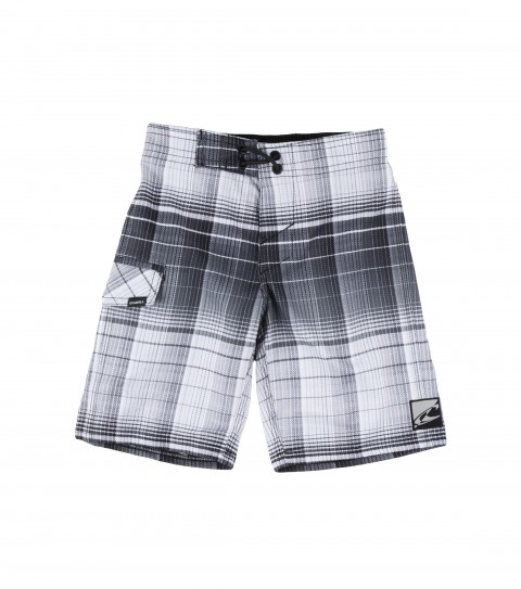 Surf O'Neill Kids Revive Boardshorts.  Epicstretch; allover plaid print; superfly 2.0 closure; side flap pocket; appliqued and screened logos. - $39.50