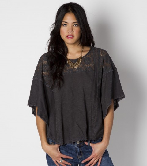 Surf O'Neill Antiqued Top.  100% Cotton slub.  Flutter sleeve; cotton crochet insets at shoulders; crochet taping detailing; metal logo badge. - $33.99