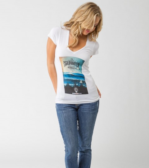 Surf O'Neill Womens CWC Tee.  100% Cotton.  Flattering slim silhouette; slim V; Coldwater Classic tee. - $16.99