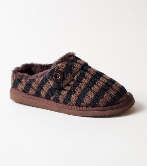 Entertainment O'Neill Pyrenees Slippers.  Acrylic sweater knit slipper; faux fur lining; button detail; jaquard label - $19.99