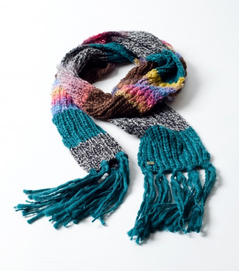 "Surf O'Neill Celestial Scarf.  Mixed acrylic yarn scarf; self fringe; metal logo badge.  71""L x 5"" W. - $20.99"