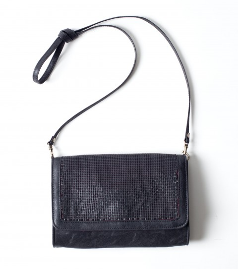 "Entertainment O'Neill Angie Clutch Purse.  Faux leather cross body handbag with detachable shoulder strap; metal chainmail inset on front flaps; snap opening and metal logo strip.6""H x 9""W 1""D - $38.00"