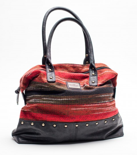 "Entertainment O'Neill Adria Purse.  Wool blend yarn dyed fabric bag with faux leather straps and bottom panel; metalhardware trims; zip opening; metal logo plate.12""H x 14.5""W x 4""D - $27.99"