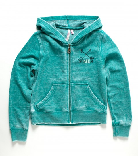 Surf O'Neill Girls Greece Hoodie.  60% Cotton / 40% Polyester.  Burnout fleece; front zip closure; rib knit trim; front and back screenprint; and front kangaroo pocket. - $23.99