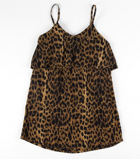 Surf O'Neill Girls Hush Tank.  100% Polyester.  Leopard print with front ruffle. - $33.99