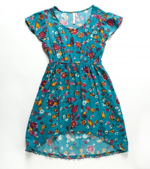 Entertainment O'Neill Girls Rosie Dress.  100% Viscose printed.  True waist; flutter sleeve; ruffle detailing; slight high-low hemline; metal logo badge. - $42.00