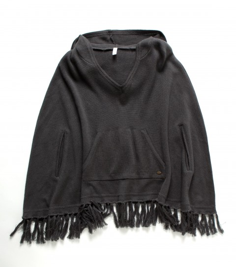 Surf O'Neill Girls Jolie Sweater.  100% Acrylic sweater knit.  Cape styling with slits for arms; front kangaroo pocket; fringe along bottom opening; lace applique at back; metal logo badge. - $49.50