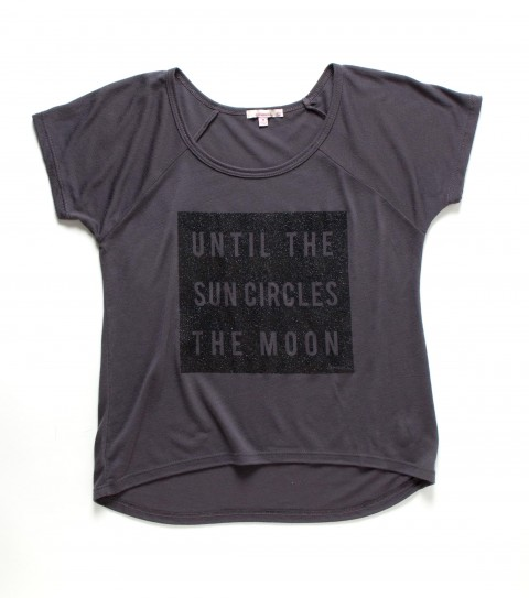 Surf O'Neill Girls Galileo Tee.  65% Polyester / 35% Rayon.  Girls slider tee and black glitter. - $26.00