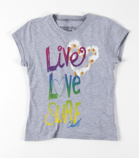 Surf O'Neill Girls Live Love Surf Tee.  65% Polyester / 35% Rayon.  Girls slider tee. - $10.99