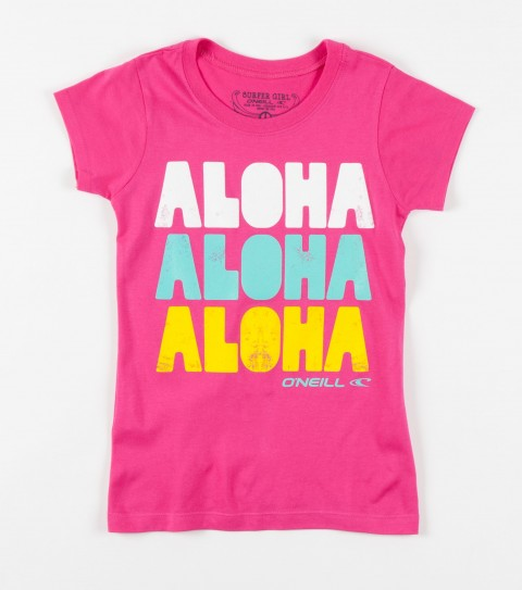Surf O'Neill Girls Aloha Hi Tee.  65% Polyester / 35% Rayon.  Girls slider tee. - $10.99