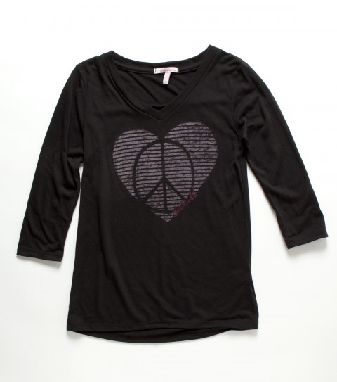 Surf O'Neill Girls Shanti Tee.  50% Cotton / 50% Polyester.  3/4 Sleeve; V-neck tee. - $14.99