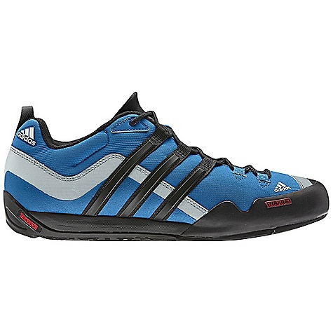 Camp and Hike Free Shipping. Adidas Men's Terrex Swift Solo Shoe DECENT FEATURES of the Adidas Men's Terrex Swift Solo Shoe Upper: Mesh upper for extra breathability and durability Upper: Asymmetrical heel loop for easy attachment to a Harness or Backpack Midsole: adiPRENE insert for comfort and shock absorption Outsole: Approach specific Outsole design with climbing zone The SPECS Weight: 12 oz / 350 g - $99.95
