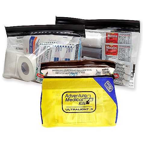 "Entertainment Adventure Medical Kits Ultralight and Watertight .9 Kit DECENT FEATURES of the Adventure Medical Kits Ultralight and Watertight .9 Kit Group Size: 1 - 4 persons Trip Duration: 1 - 4 days 1 - Splinter Picker/Tick Remover Forceps 1 - Duct Tape, 2"" x 100"" 3 - Safety Pins 2 - Antihistamine (Diphenhydramine 25 mg), Pkg./1 6 - Diamode (Loperamide HCI 2mg), Pkg./1 4 - Ibuprofen (200 mg), Pkg./2 1 - Trauma Pad, 5"" x 9"" 1 - Syringe, Irrigation, 10 cc with 18 Gauge Tip 1 - Wound Closure Strips, 1/4"" x 4"", Pkg./10 1 - Tincture of Benzoin Topical Skin Adhesive, Vial 3 - Triple Antibiotic Ointment, Net Wt. 0.9 g, (1/32 oz) 1 - Gloves, Nitrile (Pair) 6 - After Cuts & Scrapes Anesthetic/Antiseptic, Wipe 5 - Bandage, Adhesive, Fabric, 1"" x 3"" 3 - Bandage, Adhesive, Fabric, Knuckle 1 - Bandage, Elastic, Co-hesive, Self Adhering 2"" 2 - Bandage, Stockinette Tubular, 1"" x 4"" 3 - Conforming Gauze Bandage, Non-Sterile, 3"" 2 - Dressing, Gauze, Sterile, 2"" x 2"", Pkg./2 3 - Dressing, Gauze, Sterile, 3"" x 3"", Pkg./2 2 - Dressing, Non-Adherent, Sterile, 3"" x 4"" 2 - Moleskin, 4"" x 7"" 1 - Tape, Cloth, 1"" x 10 Yards 1 - Cotton Tip Applicator, Pkg./2 The SPECS Weight: 10 oz Size: 8"" x 5"" x 3.5"" - $29.95"