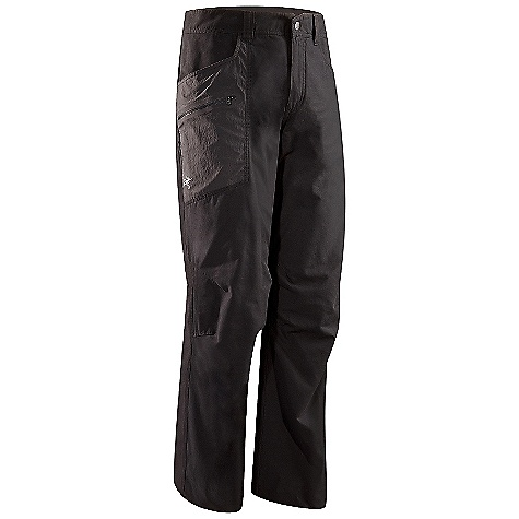 Camp and Hike On Sale. Free Shipping. Arcteryx Men's Adventus Pant DECENT FEATURES of the Arcteryx Men's Adventus Pant Lightweight Durable DWR finish (Durable Water Repellent) helps bead water from fabric surface Anatomical shaping for fit and comfort Embroidered logo Belt loops Moisture-resistant outer face fabric with DWR finish Gusseted crotch, articulated fit for increased range of movement Two hand pockets, thigh pocket with laminated zip, two rear pockets, front fly Activity: Rock Climbing / Hiking / Casual/Urban The SPECS Weight: 14.6 oz / 413 g Fit: Relaxed Inseam: 30in. / 76 cm (not available in 38), 32in. / 81 cm, 35in. / 89 cm (not available in 30) Fabric: Transitor-47% cotton 40% polyester 13% nylon TerraTex (trim)-94% nylon 6% spandex, Lightweight, breathable, stretchy, quick drying plain weave textile Care Instructions Machine wash in cold water Wash dark colors separately Tumble dry on low heat Iron on low heat Do not use fabric softener This product can only be shipped within the United States. Please don't hate us. - $86.99
